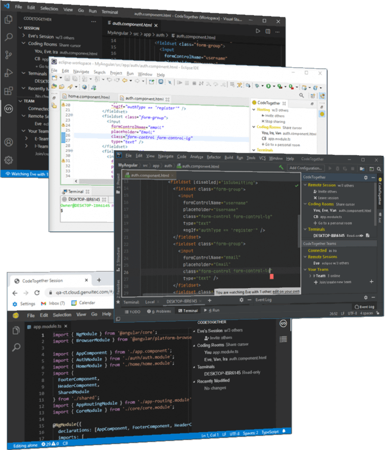 CodeTogether Teams: Across IDEs and browsers